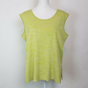 Misook Tank Top XL Lime Green Knit Scoop Neck